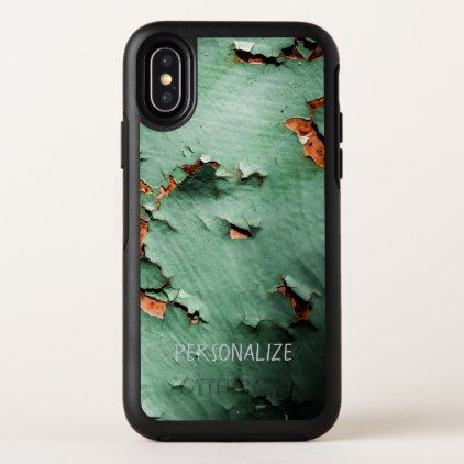 Personalize Cool turquoise brown rusty metal OtterBox Symmetry iPhone X Case - metallic style stylish great personalize