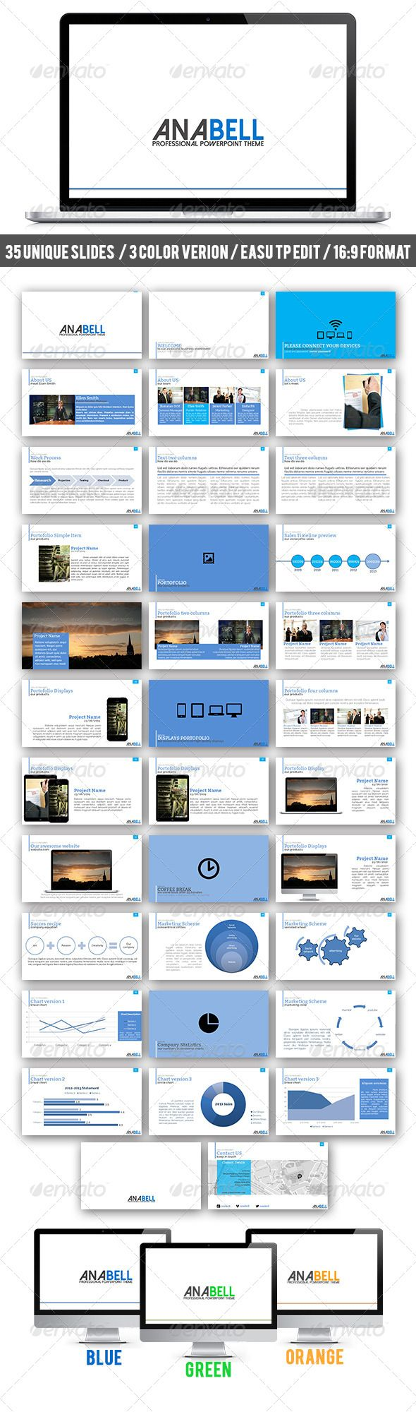 Anabell PowerPoint Theme (Powerpoint Templates) #Powerpoint #Powerpoint_Template #Presentation