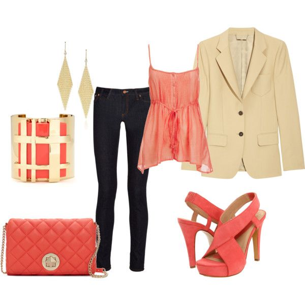 Coral: Pop Of Colors, Jeans Style, Coral Outfits, Jackets, Blazers, Business Clothing, My Love, Clothing Shoes Pur, Coral Color