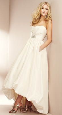 pockets and cool hi-lo hemline in this Mikaelle 1501 wedding dress - brand new boutique sample for $325