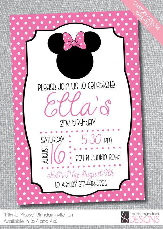 Minnie Mouse-Birthday Invitation Custom by LukensHagedornDesign