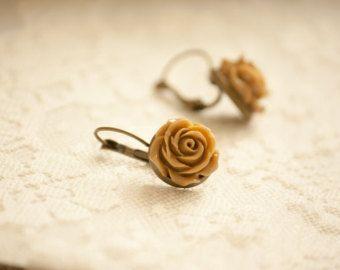 Cute Coffee Brown Resin Rose Flower Leverback Earrings