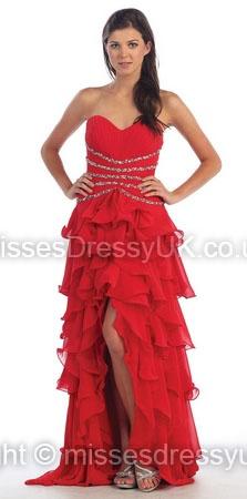 A-line Sweetheart Chiffon Asymmetrical Red Rhinestone Evening Dress