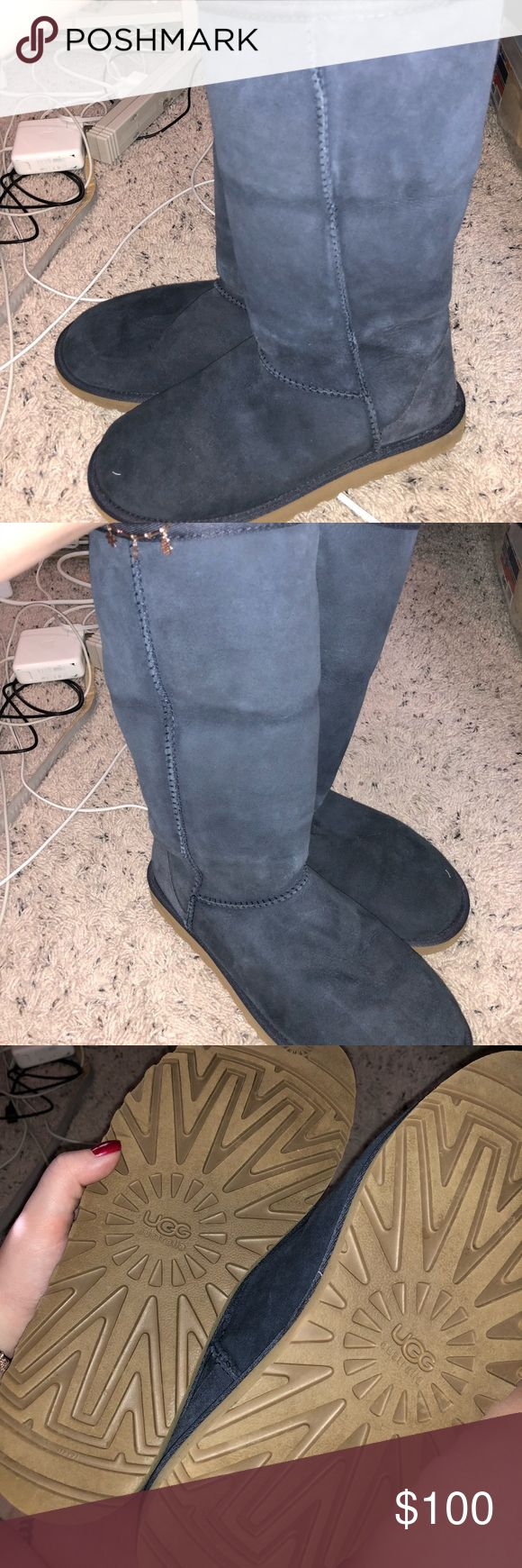 Navy Blue Uggs Honestly in great condition.  There is a dent in them because I wear my uggs rolled. These haven't been worn more than 5-6 times UGG Shoes Winter & Rain Boots