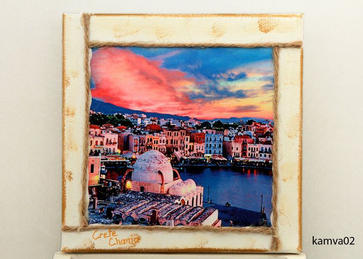 Wall frame, cotton camvas panel 20x20, with dreaming places of Crete in Greece. Decoupage techic,hand made. by edsArtists on Etsy. I accept special orders, for personalize gifts. Just send me your digital file.