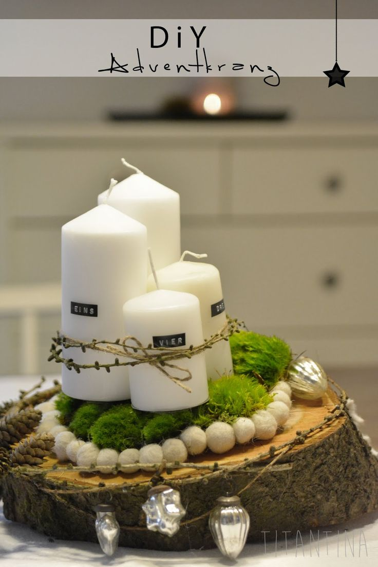diy adventkranz aus baumquerschnitt by titantina. Black Bedroom Furniture Sets. Home Design Ideas