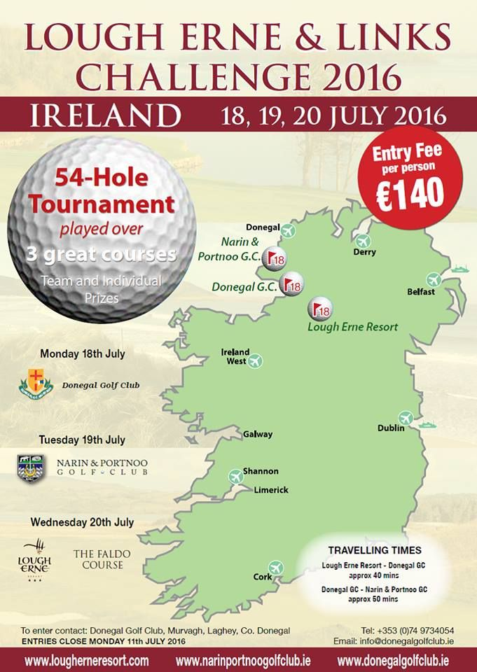 This one's for the golfers: Lough Erne & Links challenge returns for 2016  For details: info@donegalgolfclub.ie