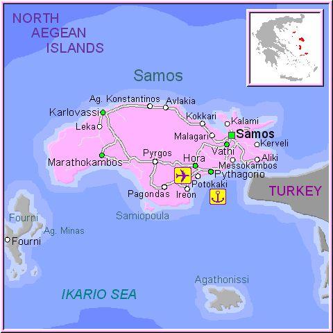 Mapa de la isla de Samos, en las Islas Griegas Cícladas, Cýcladas, Grecia.