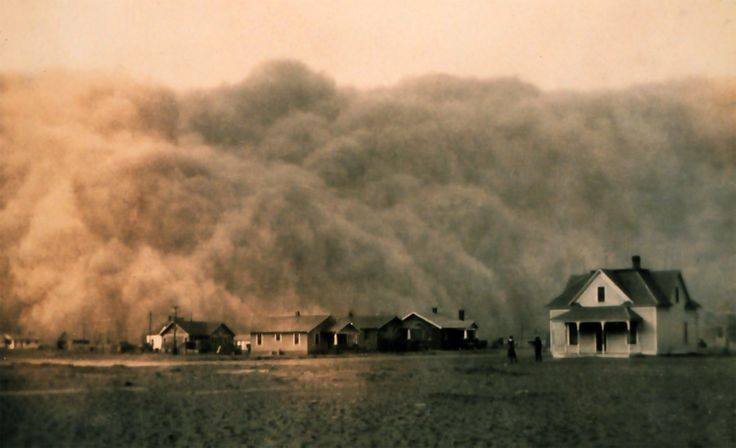 Source: Photograph of a house in the middle of a dust storm somewhere in Texas. During the dirty thirties a period of severe dust storms greatly damaged the ecology and agriculture of the U.S and Canadian prairies. This was caused by severe drought and a failure to apply dry land farming methods to prevent wind erosion.