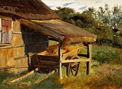 Johan Thomas Lundbye (1818-1848): A cart under a shed roof by a farmhouse