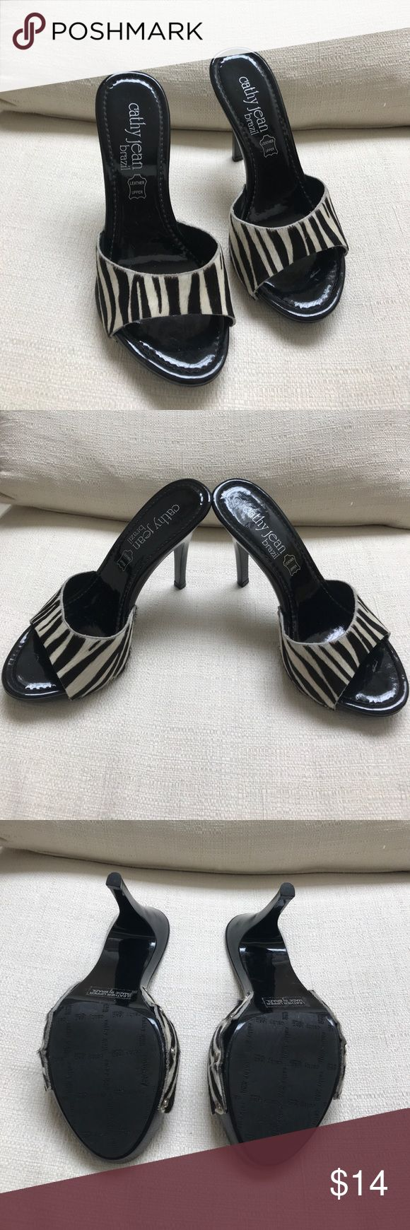 "Cathy Jean Brazil Animal Print Mules Cathy Jean Brazil animal print mules, leather upper, inside black patent, size 7, 4.5"" heel, good condition Cathy Jean Shoes Mules & Clogs"