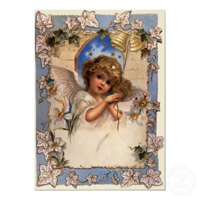 Vintage Victorian Christmas Angel with Bells Ivy