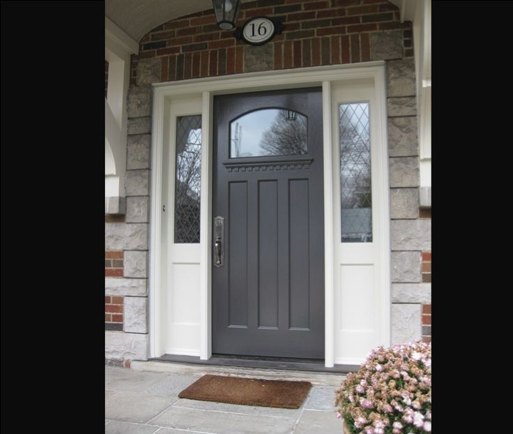 Doors: Fiberglass Front Door With Sidelights And Combination White Wooden  Wall And Brick Wall Design For Exterior Home From Ideal Home With The Front  Door ...