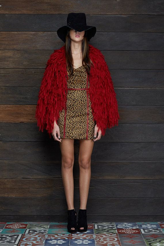 Women Shaggy Knitted Jacket Red
