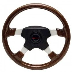 Dino 14 3/4 Inch Cherry Woodgrain / Aluminum Boat Steering Wheel w/ Hub