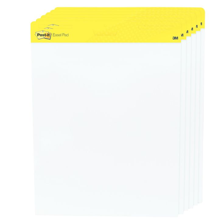 Post-it Easel Pads Self Stick Easel Pads, 25 x 30, White, 6 30 Sheet Pads/Carton (559VAD6PK)