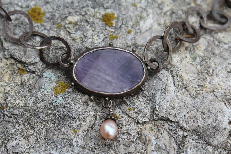 Handmade Hammered Sterling Silver Chain Amethyst Slice Freshwater Pearl Necklace #Handmade #Chain