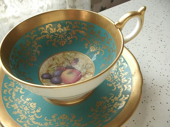 Antique turquoise and gold tea cup set, vintage 1950s Aynsley D. Jones signed fruit tea cup, gold china tea cup and saucer, English tea set via Etsy