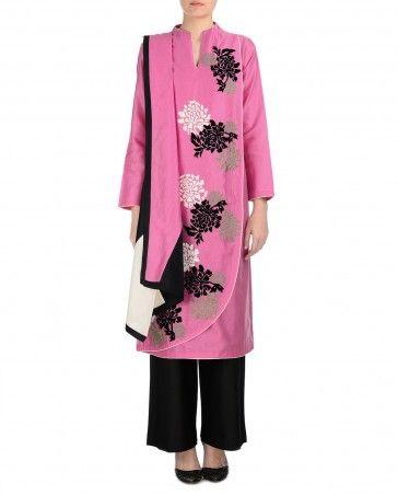Bubblegum Pink and Black Palazzo Suit