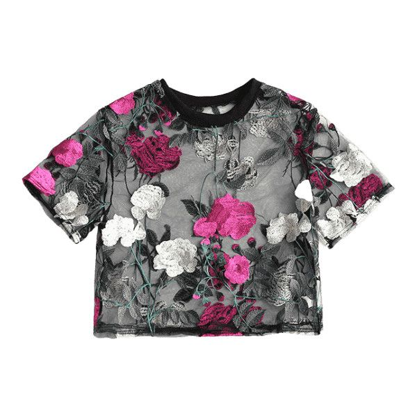 Floral Sheer Crop Mesh Blouse ($30) ❤ liked on Polyvore featuring tops, blouses, zaful, mesh crop top, floral print blouse, see through blouse, floral tops and sheer blouse