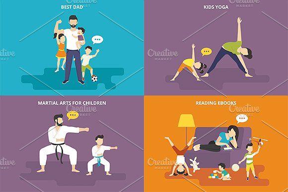 ilustraciones planas familiares conjunto # 20 - Ilustraciones