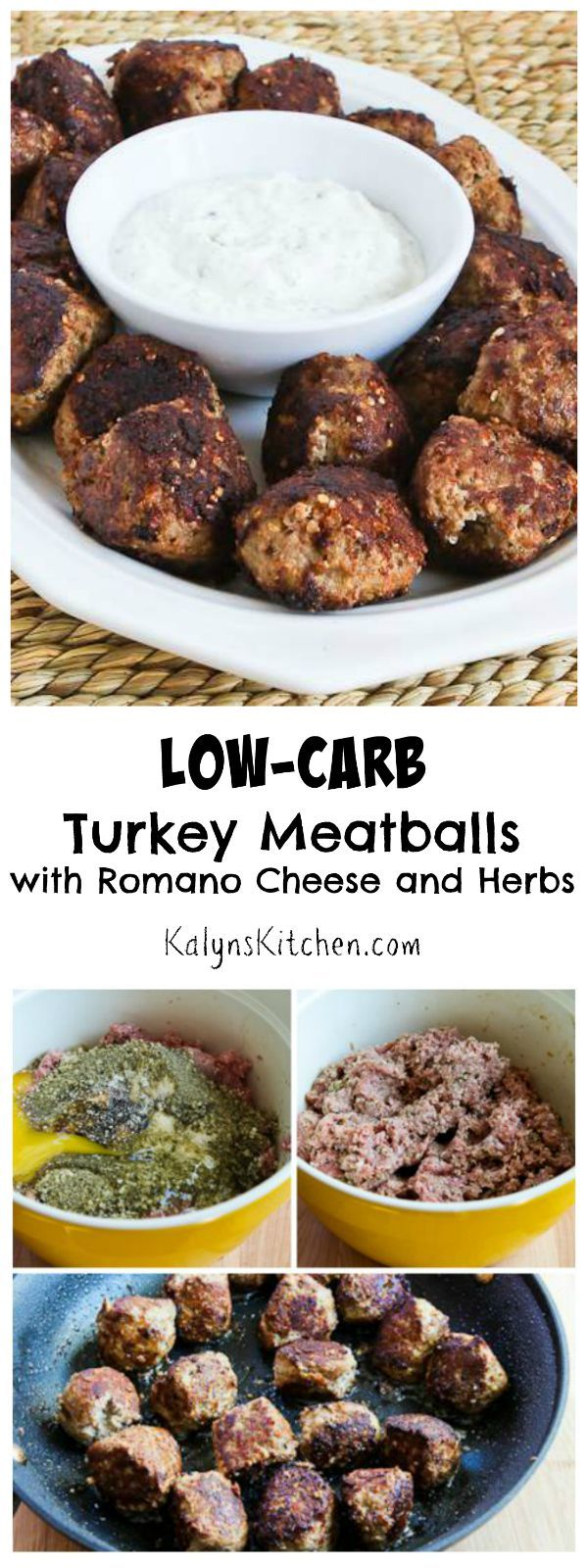Low-Carb Turkey Meatballs with Romano Cheese and Herbs