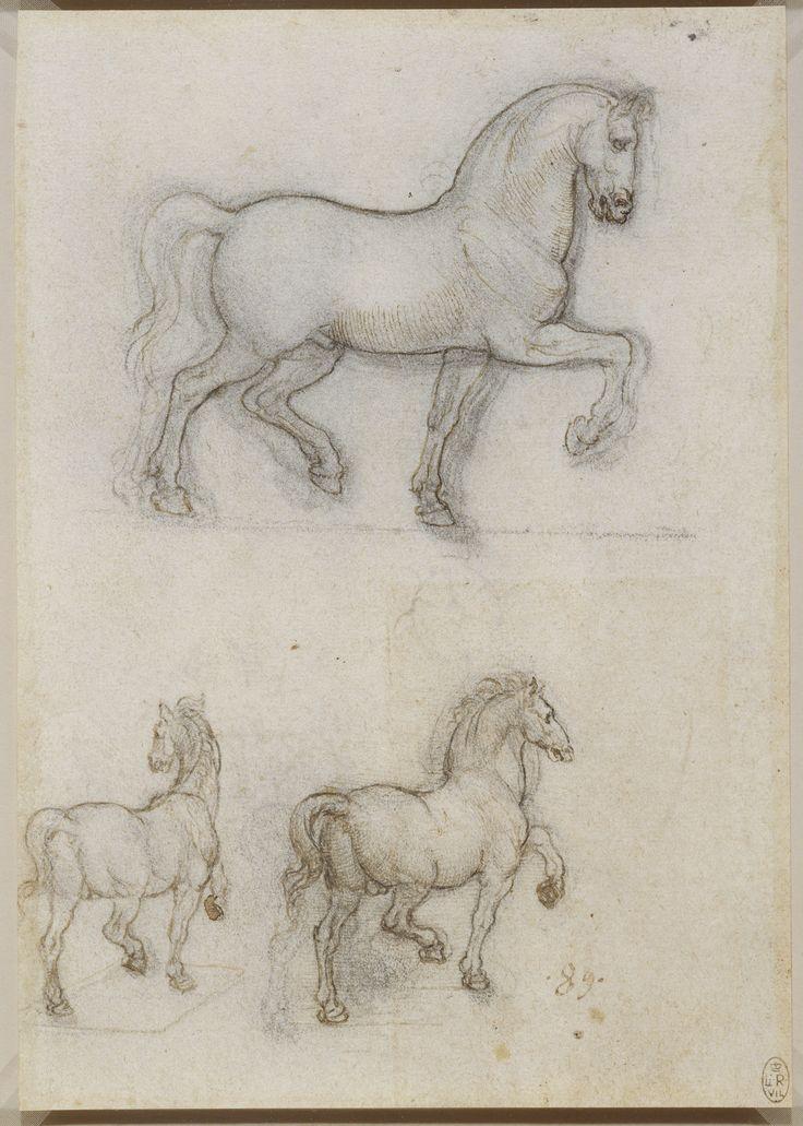 Leonardo da Vinci, 1452-1519, Italian, Studies for an equestrian monument, c.1517-18. Pen and ink over black chalk. Royal Collection Trust, Windsor. High Renaissance.