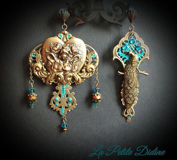 Art Nouveau Earrings, Mucha Earrings, Peacock Earrings, Art