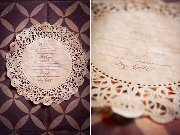 Paper Doily Menus Wedding Wedding Decor Ideas Pinterest