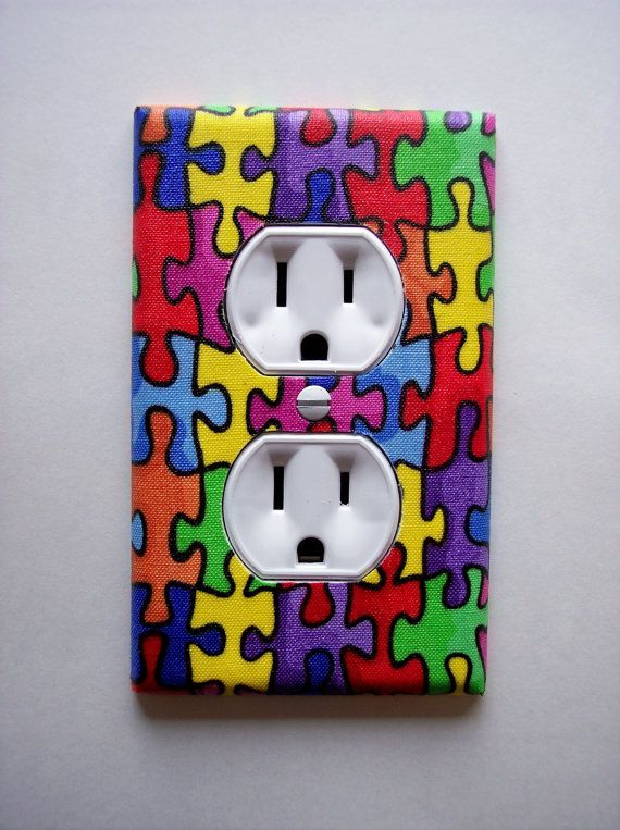 Autism Puzzle Pieces Outlet Plate wall decor by PopGoesTheColor, $6.95