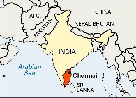 Chennai is located on the Coromandel Coast off the Bay of Bengal, it is the biggest industrial and commercial center in South India,and a major cultural, economic and educational center as well.