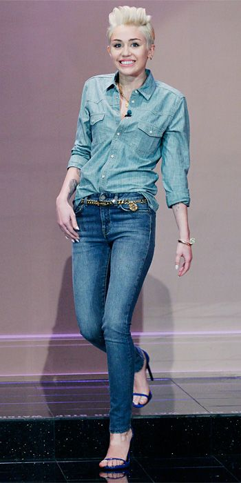 Look of the Day - February 2, 2014 - Miley Cyrus in Saint Laurent #InStyle - don't like miley or the double denim look. Just jeans with thin strap sandals