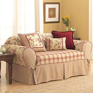 Lexington Burgundy Print Slipcover Sofa Beaches