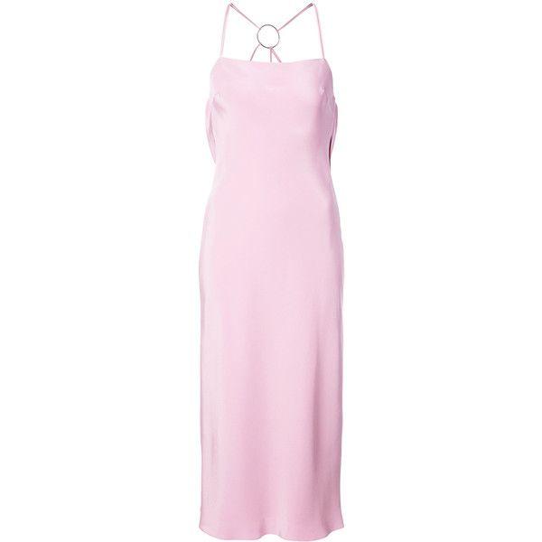Cushnie Et Ochs draped back midi dress ($2,540) ❤ liked on Polyvore featuring dresses, draped midi dress, pink midi dress, pink spaghetti strap dress, pink dress and draped dress
