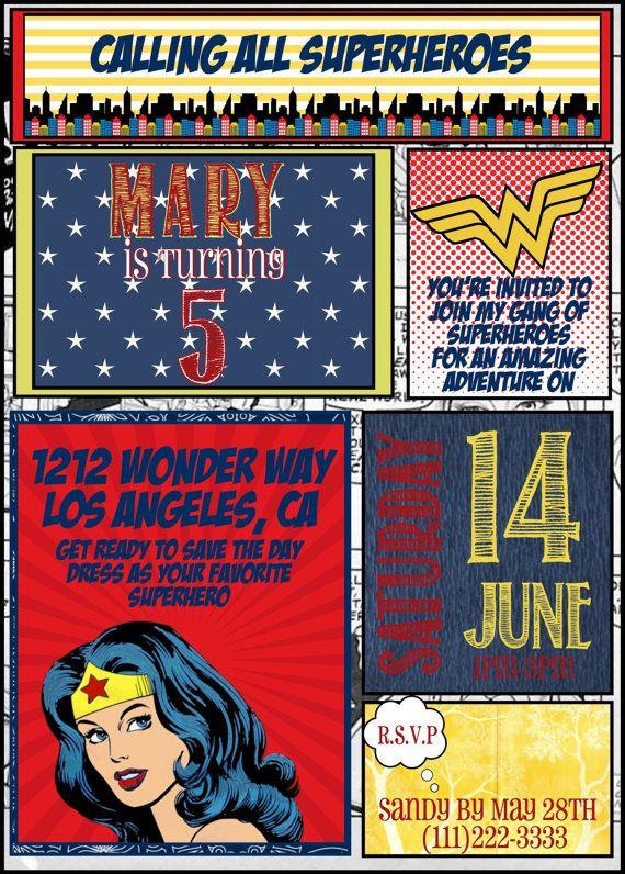 Superhero Wonder woman Birthday Party by FromTheHartDesign on Etsy
