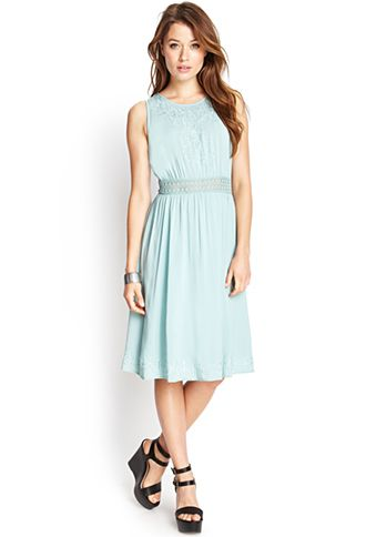 Flowy Embroidered Midi Dress | FOREVER21 - 2000123564