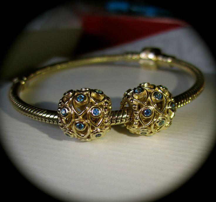 14k Gold Pandora Ocean Treasures charms with deep blue ...