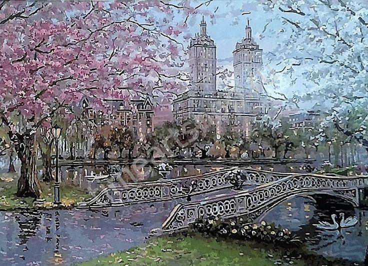 Весна в Центральном парке. Нью-Йорк, картина-раскраска по №