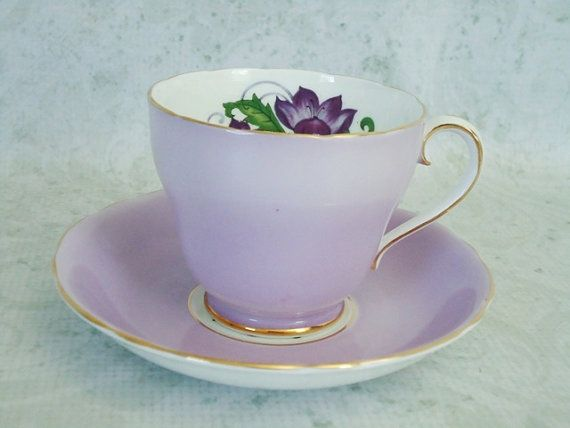 Lavender Teacup Set - Vintage Tea cups and Saucers - Purple Tea Cups via Etsy