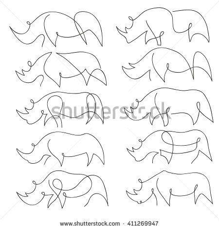 One line rhinoceros design silhouette. Hand drawn minimalism style vector…