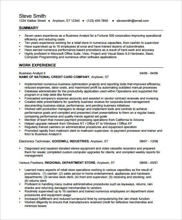 Resume Templates Business Analyst ResumeExamples
