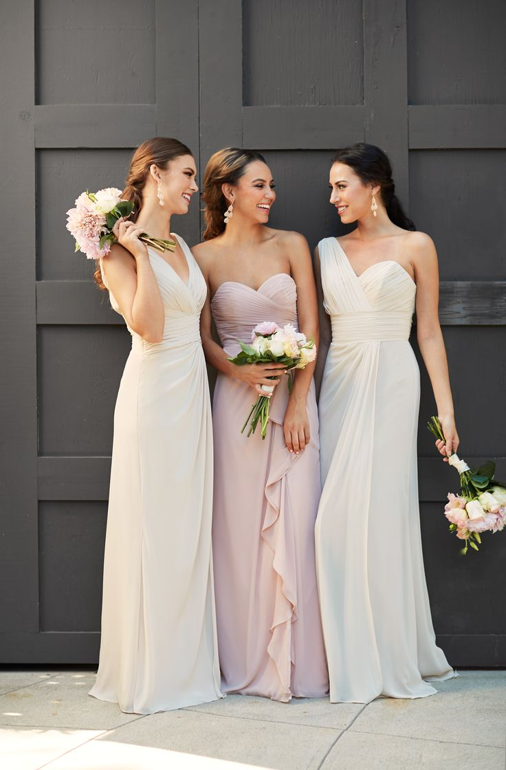 Rent these bridesmaid dresses at www.vowtobechic.com | Long chiffon gowns by Watters. Available in Buff (blush), French Vanilla, Indigo, Stone (gray), Plum, Lavender, Pomegranate (red) and Blue Harbor.
