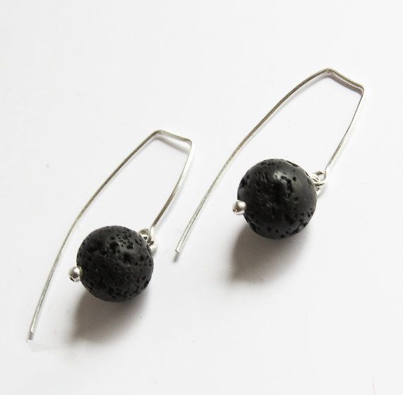 Lava Stone Silver Earrings inspired by iceland by SirryDesign