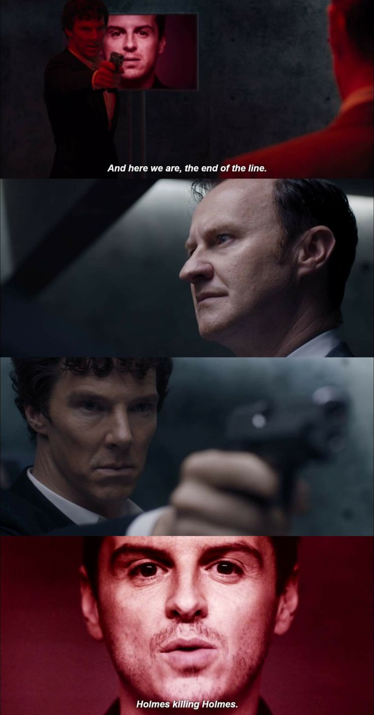 """Here we are. The end of the line. Holmes killing Holmes"" - Moriarty, Mycroft and #Sherlock"