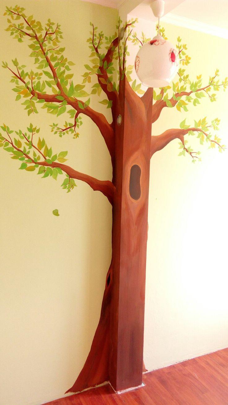 Роспись стены. Дерево. Крона. Листва.