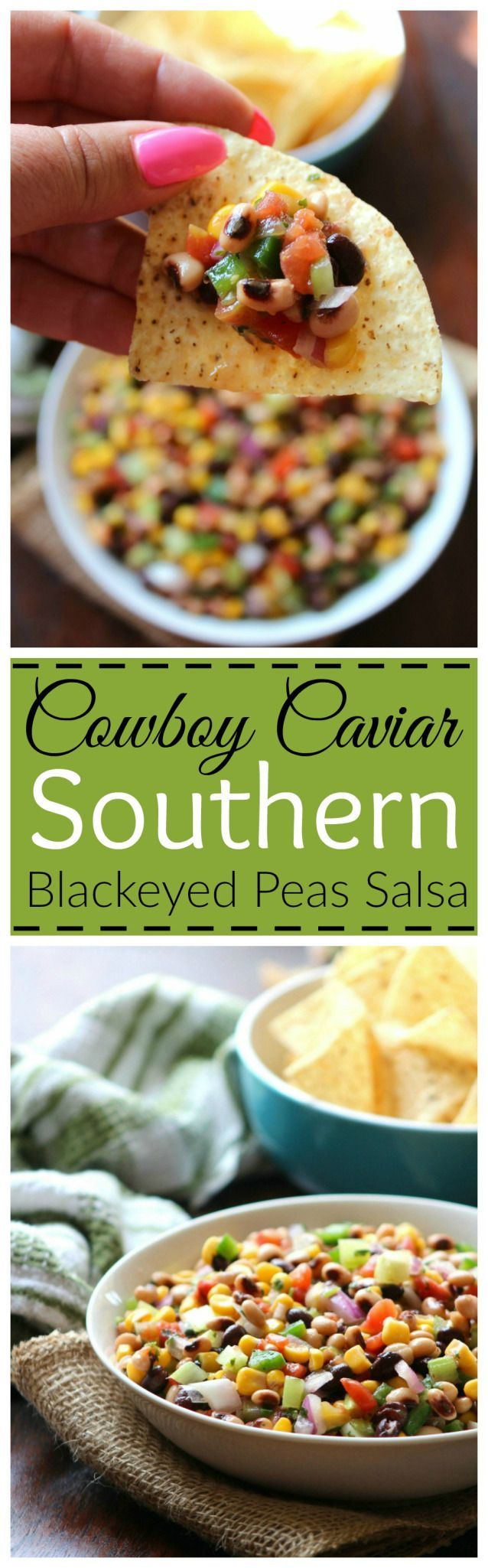 Cowboy Caviar {black-eyed Pea Salsa} aka Texas Caviar is the delicious Southern cousin of Mexican Black Bean Salsa made with black-eyed peas, sweet corn, diced red plum tomatoes, chopped spicy jala…