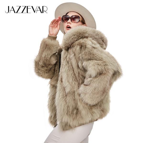 c387dc0981744 JAZZEVAR Winter Socialite Fashion Women Luxurious Real Fox Fur Zipper  Hooded Jacket Ladies outerwear Two sides