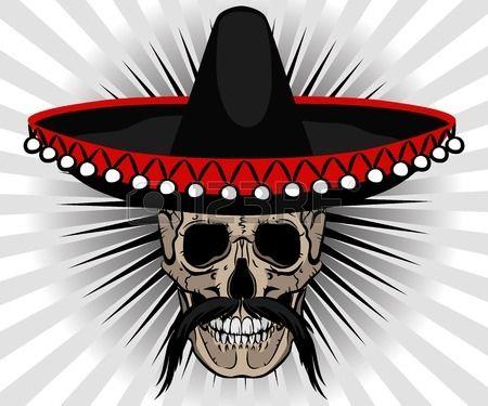 Le style mexicain de cr ne avec le sombrero et la moustache sur fond ray  Banque d'images