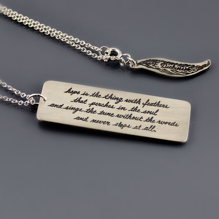 Etched Sterling Silver Emily Dickinson Necklace by Lisa Hopkins Design: Silver Emily, Dickinson Necklaces, Emily Dickinson Quotes Tattoo, Pretty Things, Etchings Sterling, Sterling Silver, Lisa Hopkins, Hopkins Design, 96 Silver