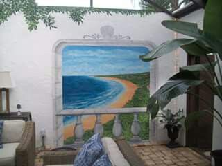 Patio mural , beachside
